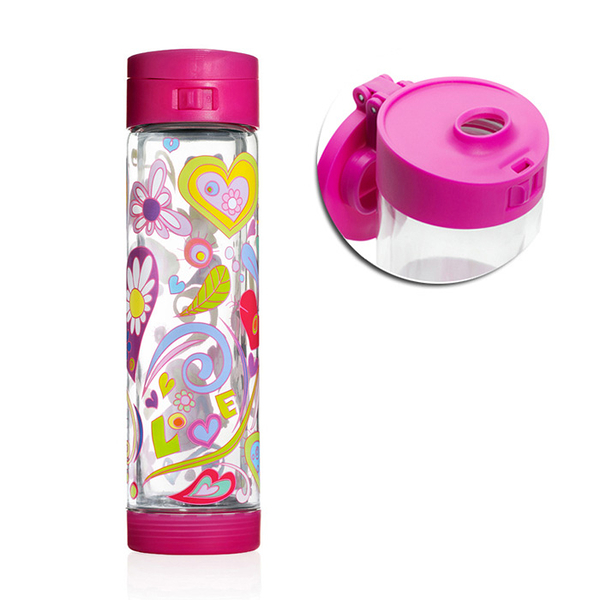 Glasstic │ 安全防護玻璃水瓶 彩繪款LOVE桃紅 470ml