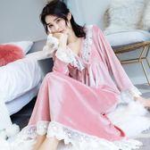 秋冬季女士天鵝絨睡裙長袖蕾絲甜美金絲絨睡衣寬鬆長款睡裙家居服「時尚彩虹屋」