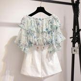 2018夏季新款韓版一字露肩碎花雪紡衫女喇叭短袖超仙甜美飄逸上衣