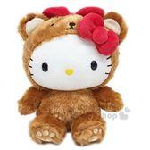 〔小禮堂〕Hello Kitty 絨毛玩偶娃娃《S.棕.熊裝》擺飾品.玩具 0840805-12774