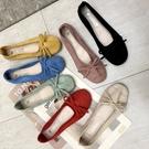 休閒鞋春夏季韓國復古溫柔蝴蝶結淺口芭蕾鞋單鞋平底鞋女鞋軟底 新品