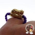 咬錢虎紫繩戒指 +平安加持小佛卡  【 十方佛教文物】
