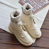 新品 平底軟底百搭毛線口短靴女文藝森繫靴子手工舒適