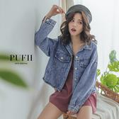 限量現貨◆PUFII-外套 個性刷色下抽鬚短版丹寧牛仔外套-0218 現+預 春【CP15953】