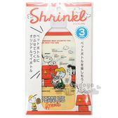 〔小禮堂〕史努比 日製寶特瓶包裝收縮模《3入.米.紅狗屋》500ml專用.裝飾模 4970825-11759