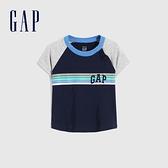 Gap嬰兒 Logo撞色條紋短袖T恤 702838-海軍藍