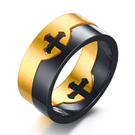 《 QBOX 》FASHION 飾品【RR-003G】精緻個性寬版可拆式十字架金黑色鈦鋼戒指/戒環