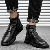 馬丁靴 男士高幫皮鞋潮男鞋子中幫防水皮靴潮流短靴英倫拉鏈馬丁靴男【快速出貨八折搶購】