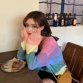 售完即止-針織衫 彩虹條紋毛衣女初秋新款韓版寬鬆秋季套頭針織衫庫存清出(11-8T)