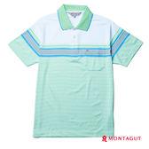 男上衣POLO衫 夢特嬌 淺綠色灰細條紋吸濕排汗