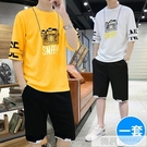 男士短袖褲休閒套裝運動青少年韓版潮流帥氣夏季冰絲網紅2020 韓慕精品