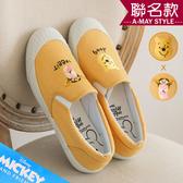 迪士尼聯名-MIT跳跳虎維尼刺繡帆布懶人鞋