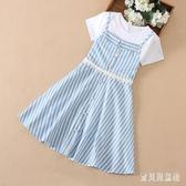 女童短袖洋裝 假兩件套夏裝2019新款12-15歲女孩中大童裙子 BT5354『寶貝兒童裝』
