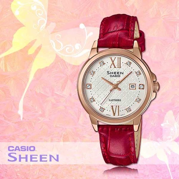 CASIO 手錶專賣店 CASIO SHEEN_ SHE-4525PGL-7B_施華洛 世奇_玫瑰金_女錶