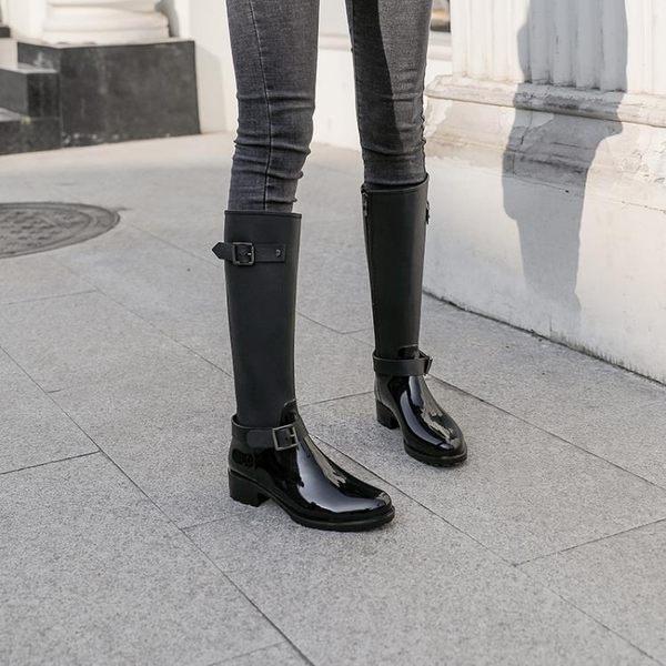 現貨-雨鞋 高筒雨鞋女長筒韓國時尚可愛外穿防滑雨靴防水膠鞋套鞋過膝靴子潮 7-25