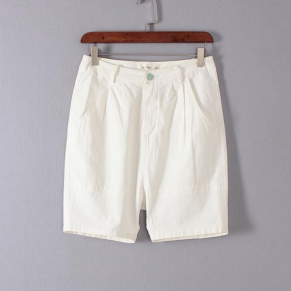 [超豐國際]鋇夏裝女裝白色時尚經典簡約百搭短褲 散15678(1入)