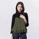 Victoria 真二件式)細帶背心+壓褶長袖T-黑-V2523988