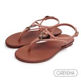 GRENDHA 古典美學平底涼鞋-橘粉/咖啡
