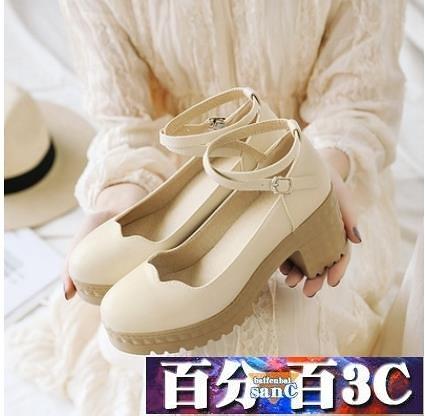大碼女鞋 牛津鞋 新款四季少女粗跟單鞋圓頭高跟鞋日系仙女風學生小皮鞋 百分百
