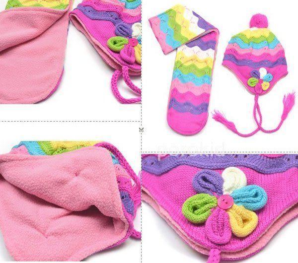*甜蜜蜜親子童裝*甜美((彩虹花朵款))保暖帽+圍巾二件組