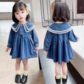 女童牛仔洋裝 女童牛仔連身裙春秋裝2020新款女寶寶公主裙子韓版洋氣兒童娃娃裙 中秋節