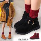 童靴子.金釦低跟童短靴【KY1357】黑/棕/紅(零碼)