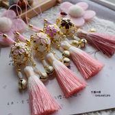 千葉居此款滿3件小清新粉色櫻花鏤空鈴鐺漸變小流蘇手機掛飾 至簡元素