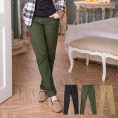 加大尺碼--帥氣修身後翻蓋口袋上配色拉鍊造型直筒褲(黑.咖.綠M-7L)-P74眼圈熊中大尺碼