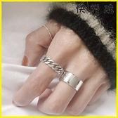 戒指 復古做舊925純銀燒銀工藝鍊條麻花戒指尾戒