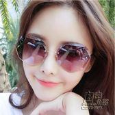 2018新款墨鏡女韓版潮復古多邊形圓臉明星同款網紅無框太陽鏡眼鏡 自由角落