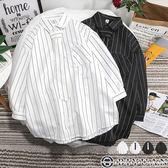 【OBIYUAN】七分袖襯衫附領帶  情侶款 直條紋  七分長袖衣服 共4色【FSKC68】