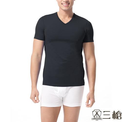三槍牌  時尚精典運動型男涼爽V領短袖上衣~3件組隨機取色