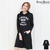洋裝--美式休閒街頭運動風格字母印圖連帽袋鼠口袋長袖棉質洋裝(黑XL-3L)-A253眼圈熊中大尺碼