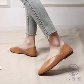 淺口百搭豆豆鞋軟皮奶奶鞋女復古平底方頭單鞋【小酒窩服飾】