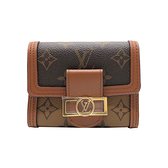 【台中米蘭站】全新品 Louis Vuitton Dauphine 帆布扣式短夾(M68725-咖)