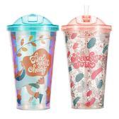 吸管杯塑料水杯便攜網紅吸管杯少女心韓版可愛女學生ins簡約潮流風杯子 歐歐