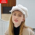 鴨舌帽 皮草帽子女冬天新款韓版羊剪絨鴨舌帽女士百搭加厚保暖學生貝雷帽