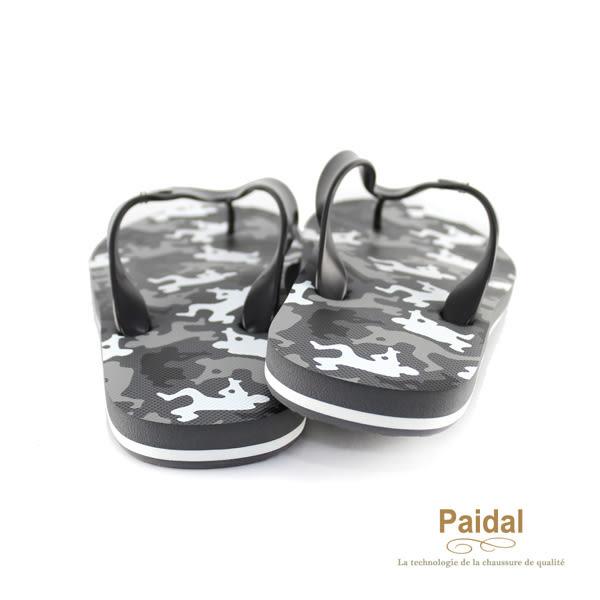 Paidal 男款野戰迷彩男足弓款夾腳拖鞋海灘拖鞋-灰