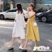 細肩帶洋裝 套裝女2019新款短款蕾絲防曬開衫韓版中長款針織鏤空吊帶連衣裙潮