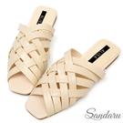 訂製款 韓版羅馬編織交叉拖鞋平底鞋-米色下單區
