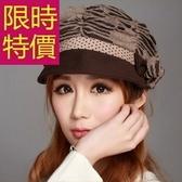 毛帽-雙層蝴蝶結瘦臉休閒鴨舌女帽子4色62e33[巴黎精品】