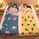 睡袋 旅行隔臟睡袋 便攜式室內雙人單人賓館旅游酒店防臟被套床單純棉 鹿角巷