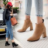 丁果、大尺碼女鞋34-46►韓版明星款絨皮拼接尖頭高跟短靴*3色