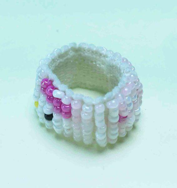 【震撼精品百貨】Hello Kitty 凱蒂貓~串珠戒指-粉臉