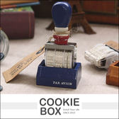 復古 日期 印章 橡皮章 旋鈕 附台座 木質 仿舊 歐風 質感 鐵塔 法國號 *餅乾盒子*