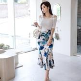 依米迦 新款兩件套夏裝韓版修身針織上衣印花包臀魚尾裙套裝