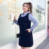 大碼女裝胖女人春裝法式桔梗裙2019新款連身裙