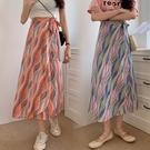 長裙 6992#模特新款夏季度假旅游民族風裹裙綁帶開衩半身長裙