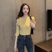 針織衫夏季新款修身短袖圓領T恤女性感鏤空露肩緊身針織衫半袖上衣 新年特惠
