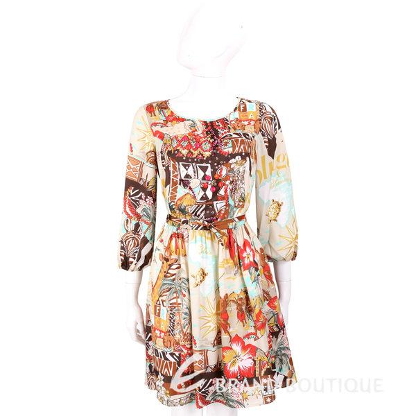 BLUGIRL 咖棕色多彩印花圖騰七分燈籠袖洋裝(附綁帶) 1620607-97
